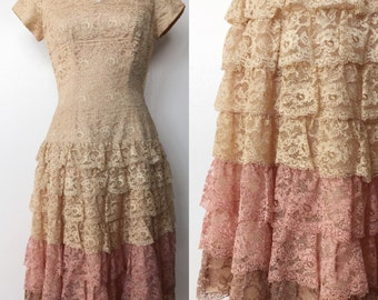 1950's Dusty Rose Ombre Tiered Lace Party Dress