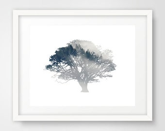 Blue Tree Wall Print, Tree Art, Tree Print, Plant Print, Nature Decor, Tree Wall Print, navy wall prints, Scandinavian art, botanical print