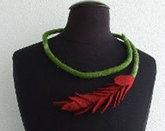 Flower shape neckpiece, Felt flower, Hand felted wool jewellery,  Felted flower necklace