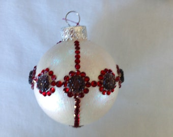 Bejeweled White Round Christmas Ornament