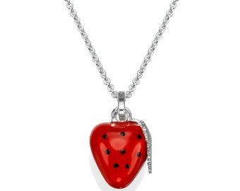 Strawberry Necklace, Sterling Silver Necklace, Silver Pendant Necklace, Enamel Pendant, Silver Necklaces for Women