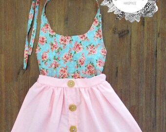 Halter top and button front skirt