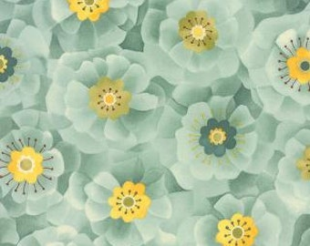 Sale Blue Flowers > Lulu Full Blooms Mist 16113 16 < by Chez Moi from Moda > Fabric by the Yard