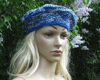 Blue BERET hat VINTAGE hand made wool HAT retro knit beret