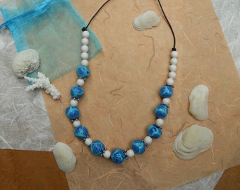 Polymer clay  necklace handmade spirals blue and white