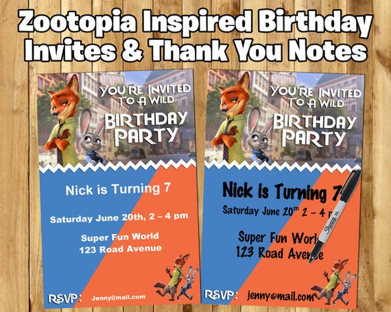 DIY Zootopia Inspired Invite - Download Customize Print - Zootopia Invitation - Zootopia Thank You Card - Zootopia Thank You Note