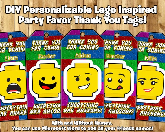 DIY Personalizable Lego Inspired Party Favor Tags - Download Customize Print Lego Party Favor Tags Lego Treat Bag Tags Lego Loot Bag Tags