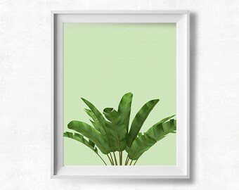 Tropical Leaf Wall Art, Banana Plant Printable, Jungalow Style, Tropical Plant Decor, Tropical Leaf Print, Printable Art, Instant Download