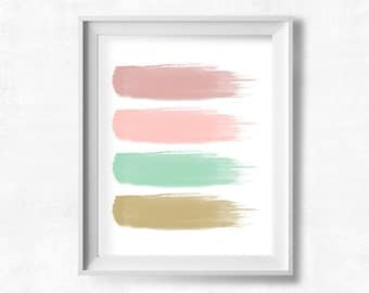 Abstract Art Printable, Watercolor Paint Strokes, Rose, Pink, Mint, Gold Nursery Decor, Girl's Room, Teen Room, Instant Download