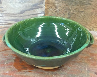 Handled Serving Bowl In Greens