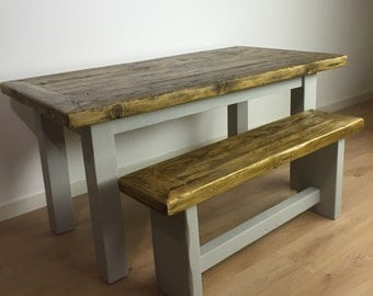 Reclaimed Pine Dining Table & Bench