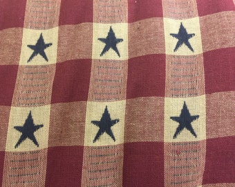 Cream and red checked with blue stars fabric window valance