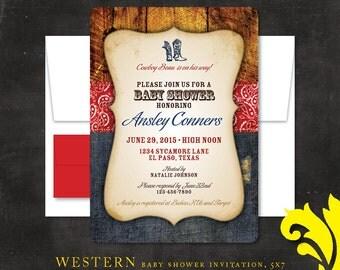 WESTERN . baby shower invitation