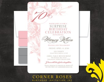 CORNER ROSES . birthday invitation