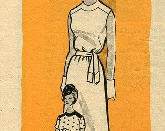 FREE US SHIP Vintage Retro 1960s 60s Mail order 9144 Yoked Dress 32 Bust Factory folded Sewing Pattern