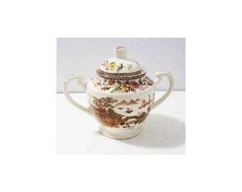 Rare Vintage Brown & Richie Oriental Gardens Sugar Bowl with Lid, Oriental Garden Lake Scene, Chinoiserie Transferware, Pristine Condition