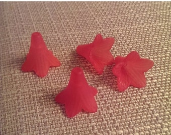 On Sale Red lucite Flowers 4 pieces