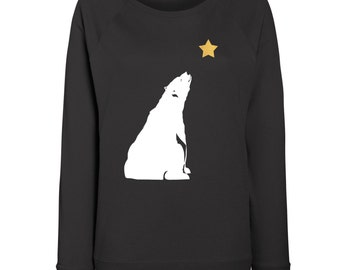 Womens Star Gazing Polar Bear Christmas Jumper / Sweatshirt