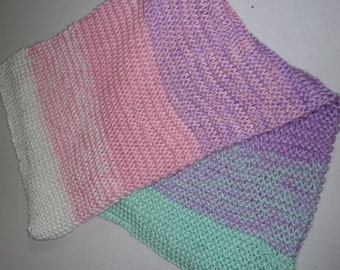 Hand Made Knitted Soft Baby Blanket  Pink Purple, White, and Aqua  Green