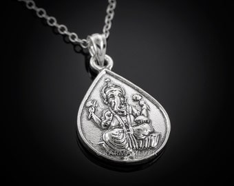 Silver Ganesh Om Reversible Pendant Necklace - Silver Ganesha Hindu Yoga Reversible Pendant