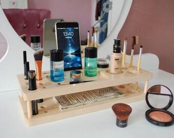 Wood Makeup Organizer, Makeup Stand, Makeup Station, Jewelry Stand, Beauty Station, Makeup Brush Holder, Cosmetic Organizer, Makeup Storage