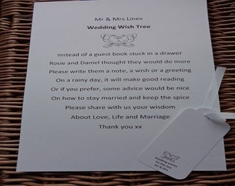 Wishing Tree Guest Book Sign, Wedding, Wish Tree Poem, Wishing Tree Tags,  Instructions Sign , Customise For Your Event