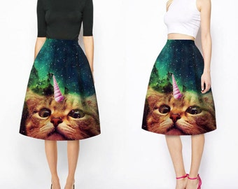 3D Cat Unicorn Pleated High Waist Flaired Skirt - Made to Order