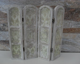 1:12 Miniature Dollhouse Folding Screen with floral designs