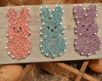 Peeps Easter String Art, Bunny, Rustic Barnwood