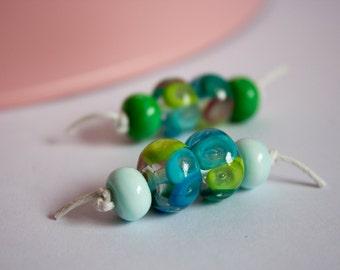 Bubble Beads - UK Handmade Lampwork Glass Beads - Trapped Bubble Beads - Doughnut Bead Set - Mini Lampwork Green Glass Beads