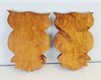 Large Wooden Owls, Carved Wood Owl, Knotty Grainy Wood Decor, Rustic Decor, Owl Figurine, Kid's Room Decor, Nursery Decor, Minimalist Design