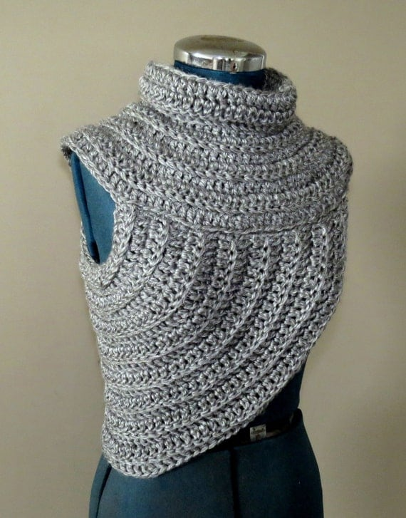 Funky cowl-vest chunky crochet knitted warm by GnarlyKnitsGroup