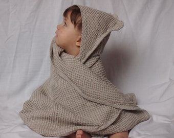 SPECIAL OFFER - 2 Linen Baby Towels, Baby Eco Towel, Baby Bath Towel, Baby Gift, 6 colors