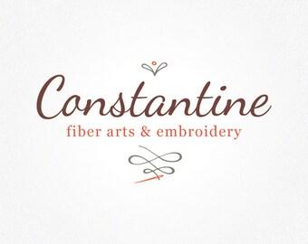 Embroidery Logo Design | Embroidery Logo | Needlepoint Logo | Needle & Thread Logo | Fiber Arts Logo | Logo Design | Premade Logo | Logo