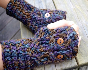 Crocheted Owl Fingerless Gloves-wrist warmers, crochet mittens, texting gloves, crochet owl gloves, womens gloves,