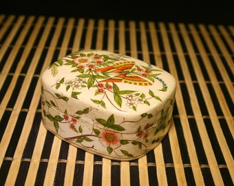 Vintage Lacquer Flower and Butterfly Design Jewelry or Memento Box