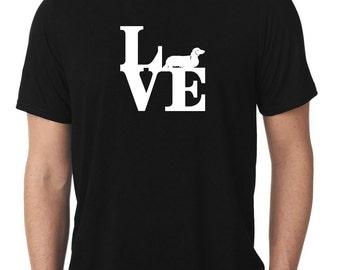 Love Dachshund T-Shirt park longhaired wiener dog T105