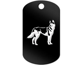 Husky Engraved GI Tag Key Chain Dog Tag siberian - MDT-164