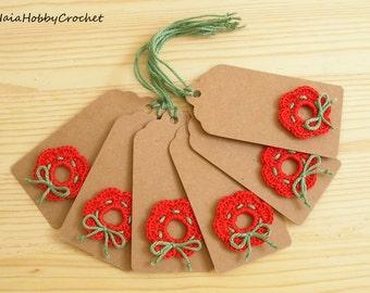 6 Crochet Christmas Tag, Handmade Crochet Christmas Tag, Crocheted Gift Tags- set of 6