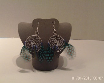 Blue hand woven dream catcher earrings with titanium coated quartz crystal
