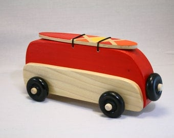 "VW Bus Wood Toy-Red-With Painted Surfboard ""Surf Bus"""