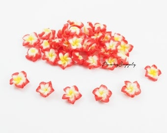 Free Shipping - 20 Pcs Red and Yellow Plumeria, Frangipani Flower Cabochon Cab Flatback - C2B.37