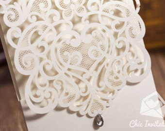 Laser Cut Wedding Invitation Beatiful Elegant Invitation