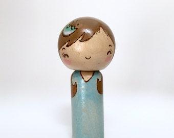 Pale blue kokeshi doll, peg doll