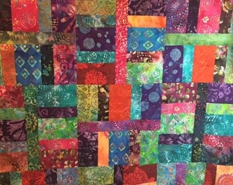"""Ready-to-quilt tropical batik quilt top 100% Cotton 67"""" x 81"""""""