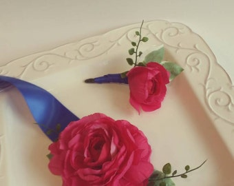 Fuchsia, Magenta, Dark Pink & Royal Blue Wrist Corsage with Matching Boutonniere Wedding or Prom Corsage Set
