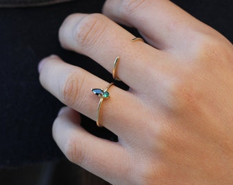 green cz gold silver ring - Gold ring - stackable ring - Minimalist jewelry - zircon ring - black zircon, green stone gold silver ring