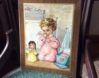 Vintage Praying Little Girl Picture Wood Plaque, Baby Nursery Decor, Vintage Girl Decor, Baby Girl