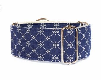 "Rustical blue dog collar, wide sighthound collar, 2"" martingale, 1.4"" martingale"