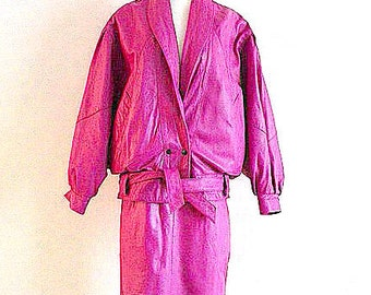 VTG. 80's English Raspberry Pink 2 PC Leather Suit
